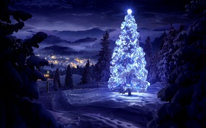 Picture winter, snow, trees, landscape, mountains, night, nature, lights, home, valley, New Year, Christmas