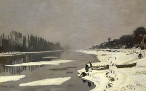 Wallpaper Claude Monet, picture, Ice floes on the Seine at Bougival, landscape
