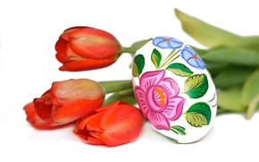 Picture flowers, Tulip, egg, Easter, Sunday, Pysanka