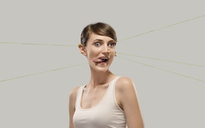 Picture girl, face, creative, humor, romain laurent, novel Lauren, gum, stretching, grimace, plastic