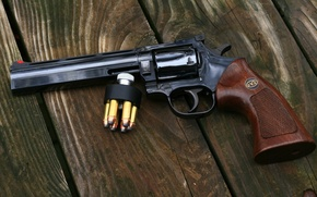 Picture gun, weapon, wood, custom, board, revolver, Magnum, Smith & Wesson, S&W, 357, plank, Smith e …