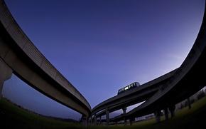 Wallpaper bus, overpass, the sky, Road