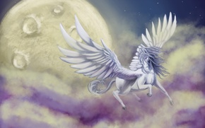 Picture the sky, clouds, flight, fiction, animal, wings, art, Pegasus