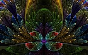 Picture fractals, glass, petals, colorful, semicircle, leads