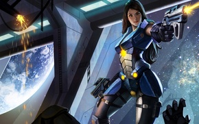 Picture girl, space, costume, space, girl, armor, armor, spaceship, spaceship, Blaster, suit, Carmen, Arena of Heroes, …
