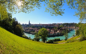 Picture trees, bridge, river, building, home, Switzerland, panorama, Switzerland, Bern, Bern, Aare river, Aare River, Brunnadern, …