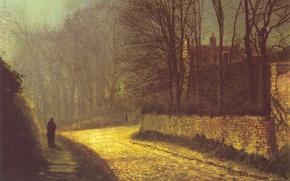 Wallpaper picture, autumn, road, figure