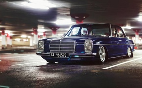Picture Mercedes-Benz, Car, Old, BBS, Parking, Wheels, Stanceworks, W115