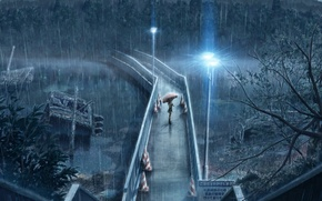 Picture girl, bridge, umbrella, rain, lights, waiting, Rainy day, pouring