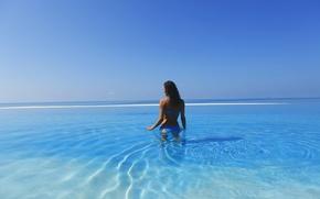 Picture sea, the sky, girl, landscape, nature, Wallpaper, beauty, the Maldives, blue, maldives