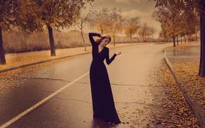 Wallpaper autumn, girl, pose, street, dress