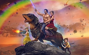 Picture Rainbow, The sky, Weapons, Dachshund, Saber, Children, Women, Sabre, Pterodactyls, Pterodactyls, Sky, Art, Rainbow, Male, …