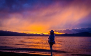 Picture sea, the sky, sunset, toy, doll, blonde