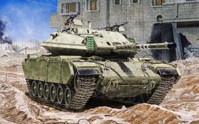 Wallpaper war, art, painting, tank, Magach 6B Gal Batash