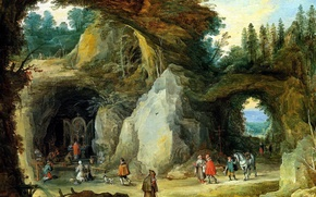 Wallpaper picture, genre, Jan Brueghel the elder, Mountain Landscape with Pilgrims at a Chapel in the ...