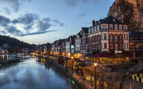 Picture the sky, night, lights, home, channel, Belgium, Dinant