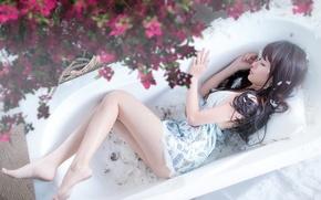 Picture girl, pose, bath