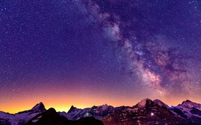 Picture Switzerland, Alps, light, mountains, night, the milky way, the sky, stars