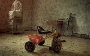 Picture room, Wallpaper, carpets, tricycle, children's high chair