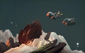 Picture sky, art, birds, model, cinema4d, c4d, 2013, lowpoly, landskape