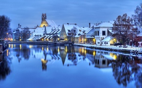 Picture winter, water, light, snow, lights, reflection, building, home, the evening, Germany, Germany, Germany