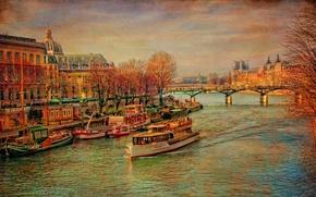 Picture autumn, trees, bridge, river, France, Paris, ship, Hay, canvas, Palace