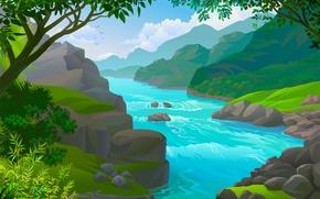 Wallpaper water, nature, river, shore