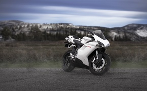 Picture white, the sky, clouds, mountains, motorcycle, white, bike, ducati, Ducati, 848