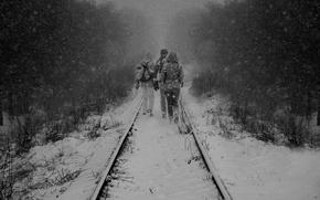 Picture winter, snow, rails, tie, trio, railroad, winter railroad, the snow, the people moving by rail, …