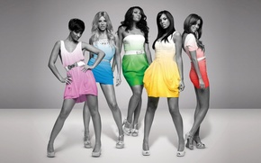 Picture black and white, Color, Dress, Belt, The Saturdays