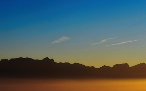 Picture twilight, sky, sunset, mountains, clouds, dusk, peaks, silhouettes