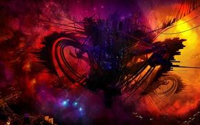 Picture space, nebula, zipper, ships, art