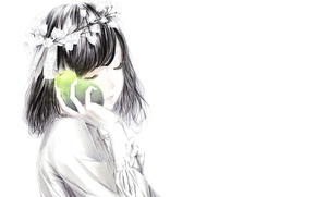 Wallpaper Sawasawa, flowers, wreath, tape, pear, Girl, art