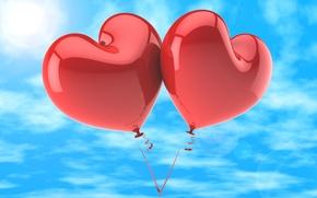 Picture love, balloons, hearts, love, happy, sky, heart, romance, balloons