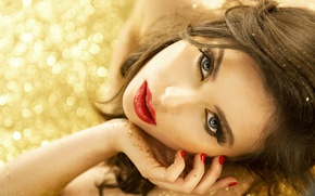 Picture look, girl, face, hair, hand, makeup, lipstick, manicure