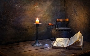 Picture candle, glasses, book, cross, iron, Seclusion