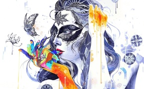 Wallpaper girl, flowers, abstraction, movement, patterns, butterfly, paint, fingers, GrenoMJ
