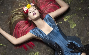 Wallpaper flags, flowers, wreath, hands, fashion, gloves, fashion, glamour, dress, girl, Elias Wessel, model