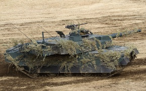 Picture field, tank, disguise, combat, Japanese, main, Type 10