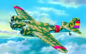 Wallpaper SB 2M-100A WWII Soviet Bomber, aviation, ww2, painting, airplane, war, art