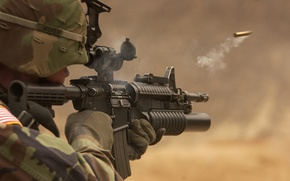 Wallpaper sleeve, soldiers, m4a1 with grenade launcher