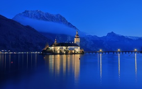 Picture the sky, mountains, night, nature, the city, Austria, Alps, haze, blue, Gmunden, lake Traunsee