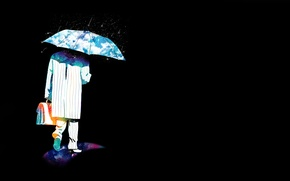 Picture abstraction, background, rain, people, umbrella, portfolio