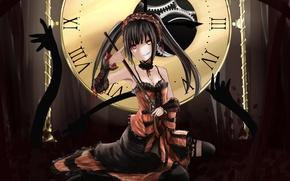 Picture girl, weapons, magic, watch, mechanism, art, heterochromia, date a live, tokisaki kurumi