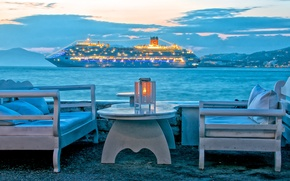 Picture sea, the sky, clouds, mountains, lights, table, stay, ship, chair, the evening, Greece, liner, Mykonos ...