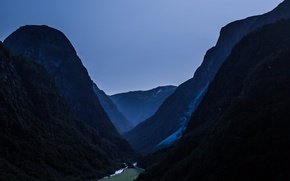 Picture landscape, nature, night, mountains, view, mountain, waterfall, valley, Norway, dim, The nærøy valley, highs, heights
