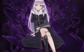 Picture girl, hands, anime, art, emilia, re zero kara hajime chip isek or seikatsu, satella