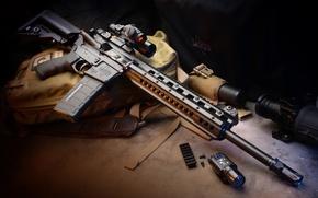 Picture weapons, flashlight, gun, bag, weapon, carabiner, Automatic, hd wallpaper, assault rifle, kit, Larue Tactical, LT-15, …