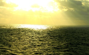 Wallpaper sea, the sun, light, clouds