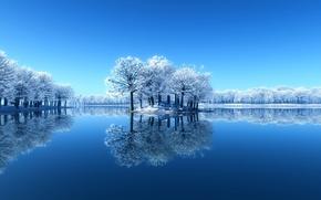 Wallpaper winter, snow, trees, lake, reflection, Nature